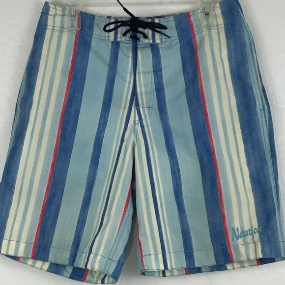 6811d708e Nautica Swim | Vtg Blue White Red Vertical Striped Mens S | Poshmark